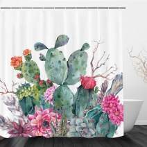 "VIMMUCIR Cactus Shower Curtain, Watercolor Tropical Plant Cacti Flower with Feather Bath Curtain Set with 12 Hooks for Bathroom (Green, 72"" W X 72"" H)"