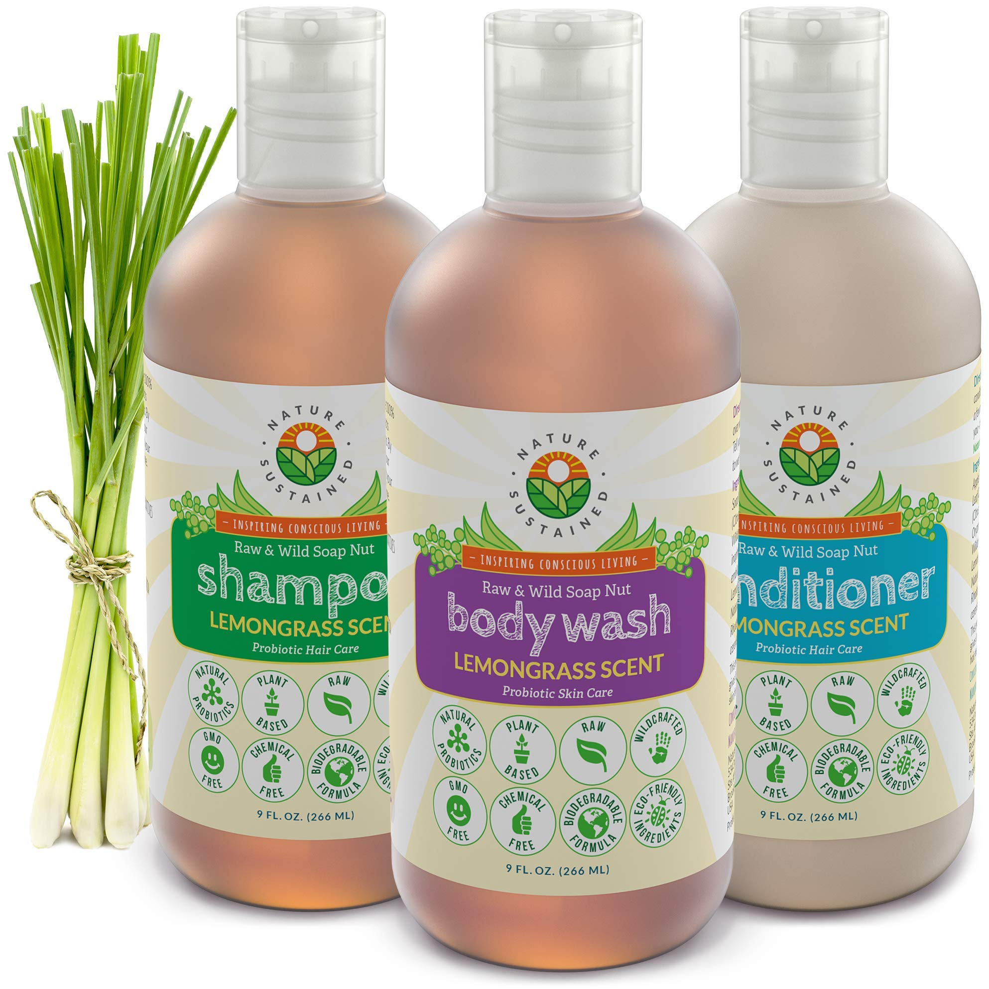 Probiotic Sensitive Skin Shampoo, Body Wash & Conditioner [Lemongrass] (3 Pack Gift Bundle) Raw Probiotic Soapberry Formula (pH Balanced) for Sensitive Skin & Dry Hair - (9 Oz. Bottles)