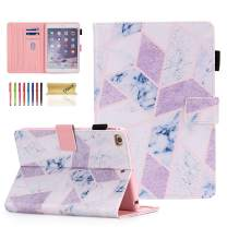 iPad Mini Case, Dteck Slim Fit Smart Premium PU Leather Multiple Viewing Folio Stand Wallet Cover with Auto Wake/Sleep for Apple iPad Mini 2/Mini 3/Mini 4/Mini 5, Marble Pink