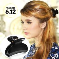 RC ROCHE ORNAMENT 6 Pcs Womens Hair Fashion Premium Professional Elegant Strong Hold Durable Plastic Chic Accessories Styling Hairpins Grip Pin Spring Claw Jaw Clip, Medium Black