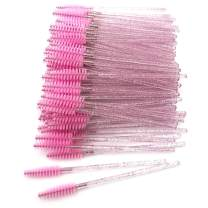 GreenLife 50 pcs/100 pcs/150 pcs/200 pcs/300 pcs/400 pcs/600 pcs/800 pcs Eyelash Brush Mascara Wands Applicator (crystal 50Pcs, Pink)