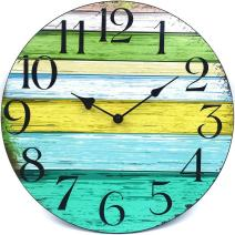 Coindivi 12 Inch Wall Clock Battery Operated Non-Ticking, Silent Wall Clock Decorative, Wooden Kitchen Wall Clocks for Office/Kitchen/Bedroom/Living Room/Classroom-Vintage Rustic Country Tuscan Style