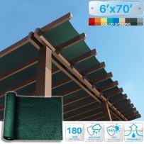 Patio Paradise 6' x 70' Sunblock Shade Cloth Roll,Dark Green Sun Shade Fabric 95% UV Resistant Mesh Netting Cover for Outdoor,Backyard,Garden,Plant,Greenhouse,Barn