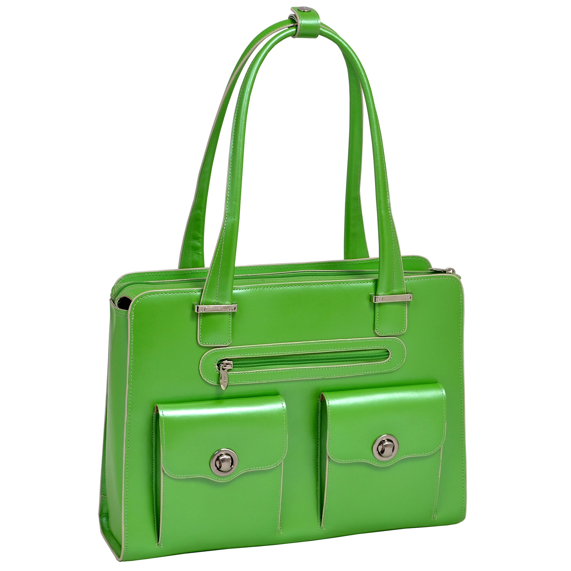 """McKlein, W Series, Verona, Top Grain Cowhide Leather, 15"""" Leather Fly-Through Checkpoint-Friendly Ladies' Laptop Briefcase, Green (96621)"""