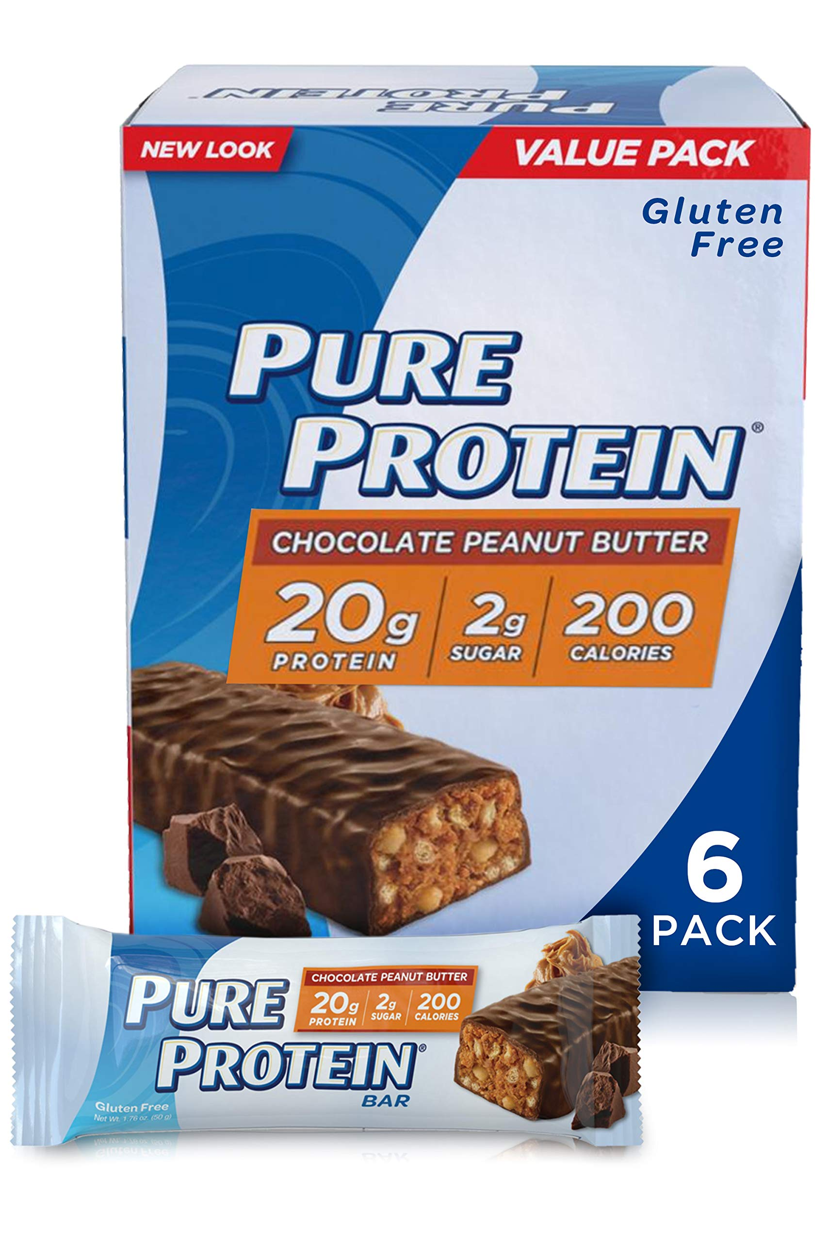 Pure Protein Bars, High Protein, Nutritious Snacks to Support Energy, Low Sugar, Gluten Free, Chocolate Peanut Butter, 1.76oz, 6 Pack