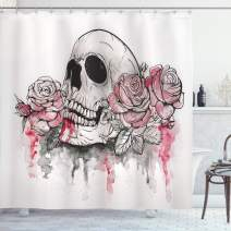 "Ambesonne Day of The Dead Shower Curtain, Print of Skull Dead with Romantic Roses Celebration Day, Cloth Fabric Bathroom Decor Set with Hooks, 75"" Long, White Pink"