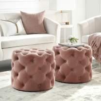 Inspired Home Blush Velvet Ottoman - Design: Lauren   Allover Tufted   Round   Modern Contemporary   1 PC