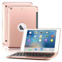iPad Mini Keyboard Case, BoriYuan Bluetooth Wireless Keyboard Folio Flip Smart Cover for Apple iPad Mini 3/ Mini 2/ Mini 1 with Folding Stand and Auto Sleep/Wake Function (Rose Gold)