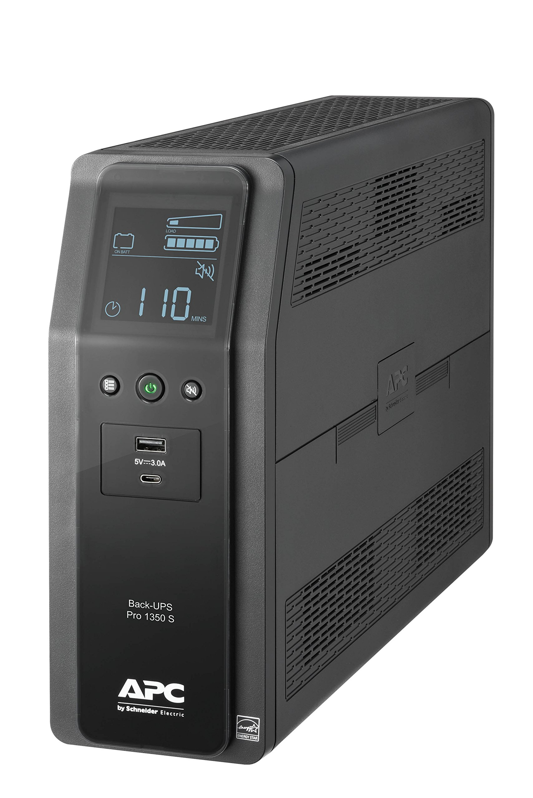 APC UPS BR1350MS, 1350VA Sine Wave UPS Battery Backup Surge Protector, Backup Battery with AVR and LCD Display, 2 USB Charging Ports, Uninterruptible Power Supply, APC Back-UPS Pro Series