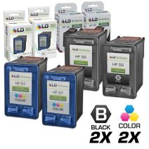 LD Remanufactured Ink Cartridge Replacement for HP 56 & HP 57 (2 Black, 2 Color, 4-Pack)