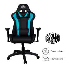 Cooler Master Caliber R1, PC Gaming Racing Chair Ergonomic High Back Office Chair, Seat Height and Armrest Adjustment, Recliner, Cushions with Headrest and Lumbar Support- Cyan-Blue