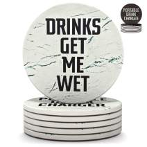 Clever & Funny Coasters for drinks Absorbent with holder - 6 piece Ceramic White Marble coaster set - Drink coasters with holder - Cup coasters - Table coasters - Coasters funny - Living room decor