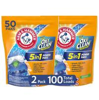 Arm & Hammer Plus OxiClean 5-in-1 HE Laundry Power Paks, 2 pack, 50 count pods, 100 loads