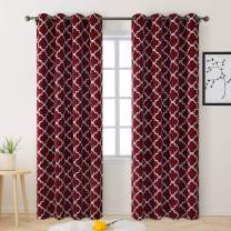 BYSURE Blackout Curtains Drapes 84 Inch Length, Thermal Insulated Grommet Curtains Panels for Bedroom Window/Living Room/Sliding Glass Door - 2 Panel Sets Moroccan Printed Design Drapery(Burgundy Red)