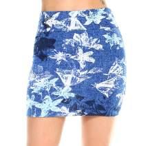 Fashionazzle Women's Casual Stretchy Bodycon Pencil Mini Skirt (Medium, KS05-#69 Blue)