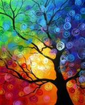 5D Diamond Painting Kit for Adults, BENBO 15.8x11.8In Colorful Tree Full Drill DIY Diamond Painting by Numbers Cross Stitch Rhinestone Embroidery Pictures Arts Craft for Home Decor