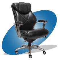 La-Z-Boy Cantania Executive Chair with AIR Lumbar Technology and Memory Foam Cushions, Ergonomic Design for Office Space, Black Bonded Leather