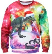 Unisex Ugly Christmas Sweater Holiday Tacky Sweatshirt Funny 3D Xmas Dinosaur Ugly Graphic Tees Tops
