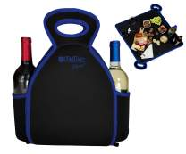 FlatBox - Cheers - 2-in-1 Resuable Lunch Bag Unzips Into Placemat   Machine Washable Bag with 2 Drink Holders Ideal for Wine or Alcohol   Insulated, Clean, Safe, & Compact (Black & Blue)