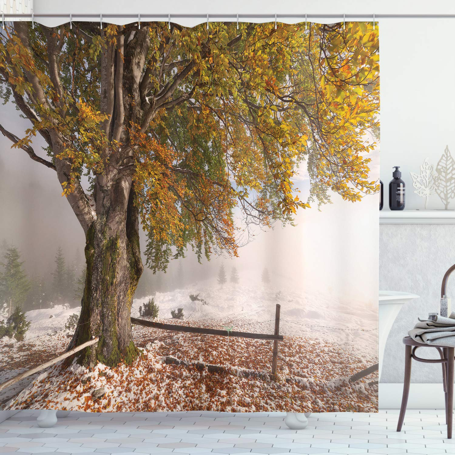 """Ambesonne Leaves Shower Curtain, Birches a Big Tree in The First Fall Snow December Country Blizzard Frozen Nature, Cloth Fabric Bathroom Decor Set with Hooks, 75"""" Long, Green White"""