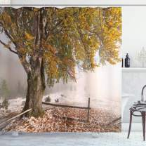 """Ambesonne Leaves Shower Curtain, Birches a Big Tree in The First Fall Snow December Country Blizzard Frozen Nature, Cloth Fabric Bathroom Decor Set with Hooks, 70"""" Long, Green White"""