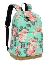 Leaper Cute Floral School Backpack Girls Daypack Bookbag Travel Bag Water blue
