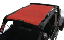 ALIEN SUNSHADE Jeep Wrangler Mesh Shade Top Cover with 10 Year Warranty Provides UV Protection for Your 4-Door JKU (2007-2017) (Cherry Red)