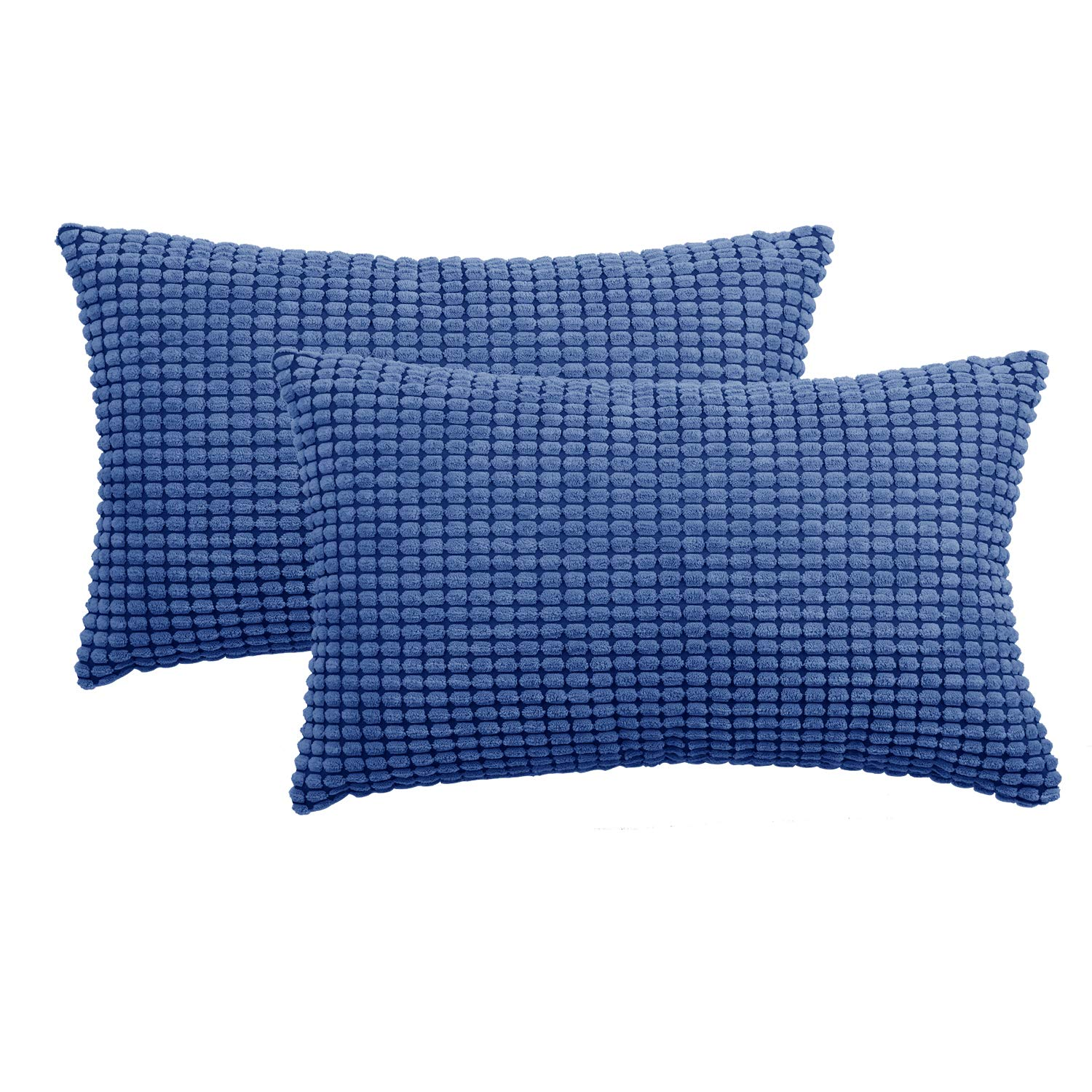 """Set of 2,Decorative Navy Blue Lumbar Throw Pillow Covers 12""""x20"""" (No Insert),Solid Cozy Corduroy Corn Stripe Accent Pillow Case Shams,Soft Rectangle Cushion Covers with Zipper for Couch/Sofa/Bedroom"""