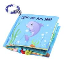 Tinzy Toys Soft Sea Animal Baby Book - Cloth Baby Book with Soft, Crinkle and Vibrant Pages - 3D Sea Animals, Mesmerizing Mirror, Teething Ring, and More - Ages 3 Months to 18 Months