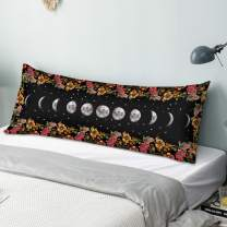 ZUMMINO Body Pillow Cover/Case with Zipper Closure 20x54 inches, Ultra Soft Velvet Body Pillowcase for Bed and Couch, Original Hand-Painted Design Moon Night Pattern 1 Pack