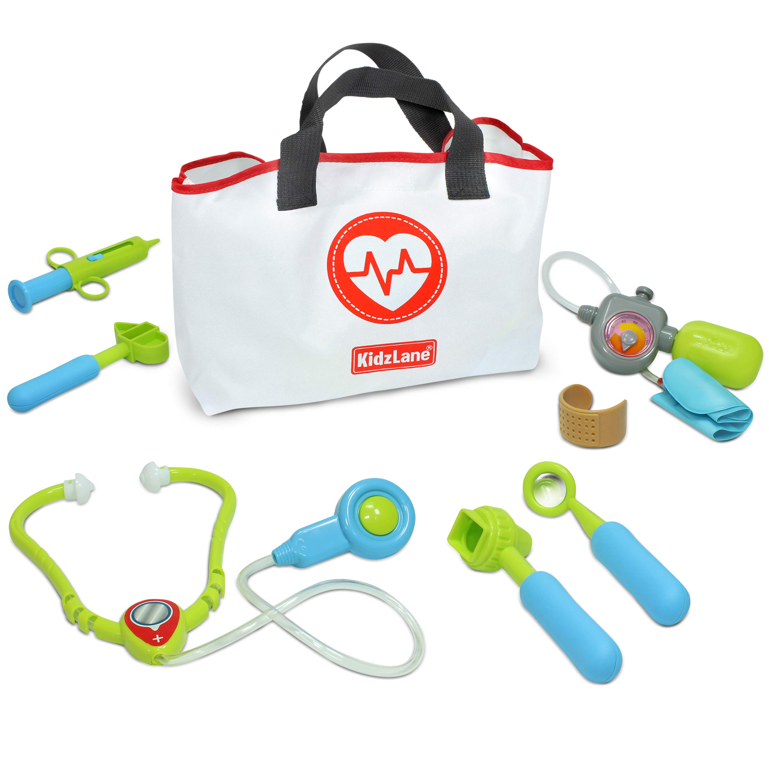 Kidzlane Play Doctor Kit for Toddlers and Kids - Kids Doctor Playset - 7 Piece Dr Set with Medical Storage Bag and Electronic Stethoscope for Kids Ages 3+