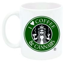 """I Love Coffee and Cannabis"" Coffee mug, Reefer, 420, Marijuana, Weed, Stoner, Pot Head"