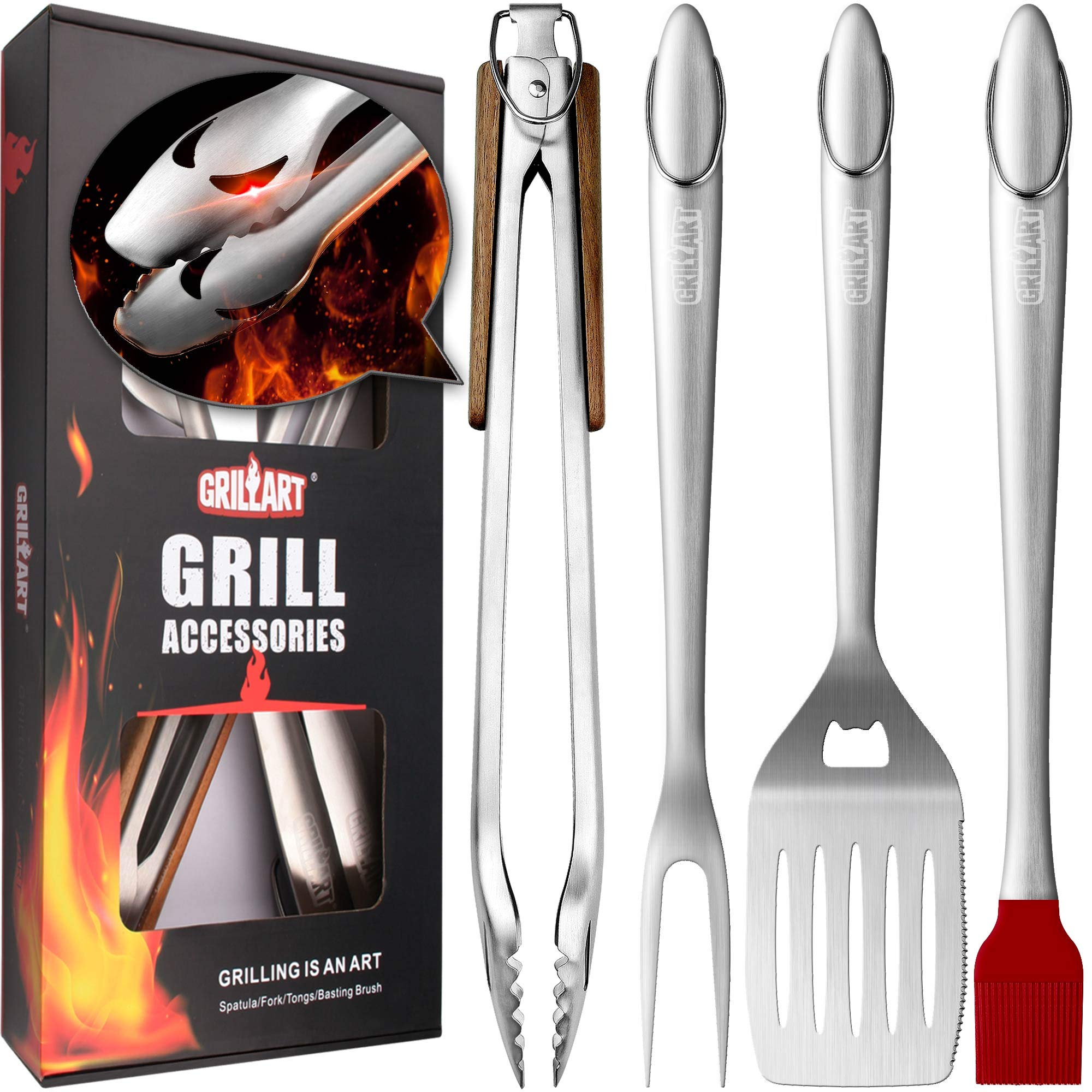 """GRILLART Heavy Duty Grill Tools Set. Snake-Eyes Design Extra Solid Grilling Utensils Kit - 18"""" Stainless Steel Locking Tongs, Spatula, Fork, Basting Brush. Best BBQ Accessories, Gift Box Package."""