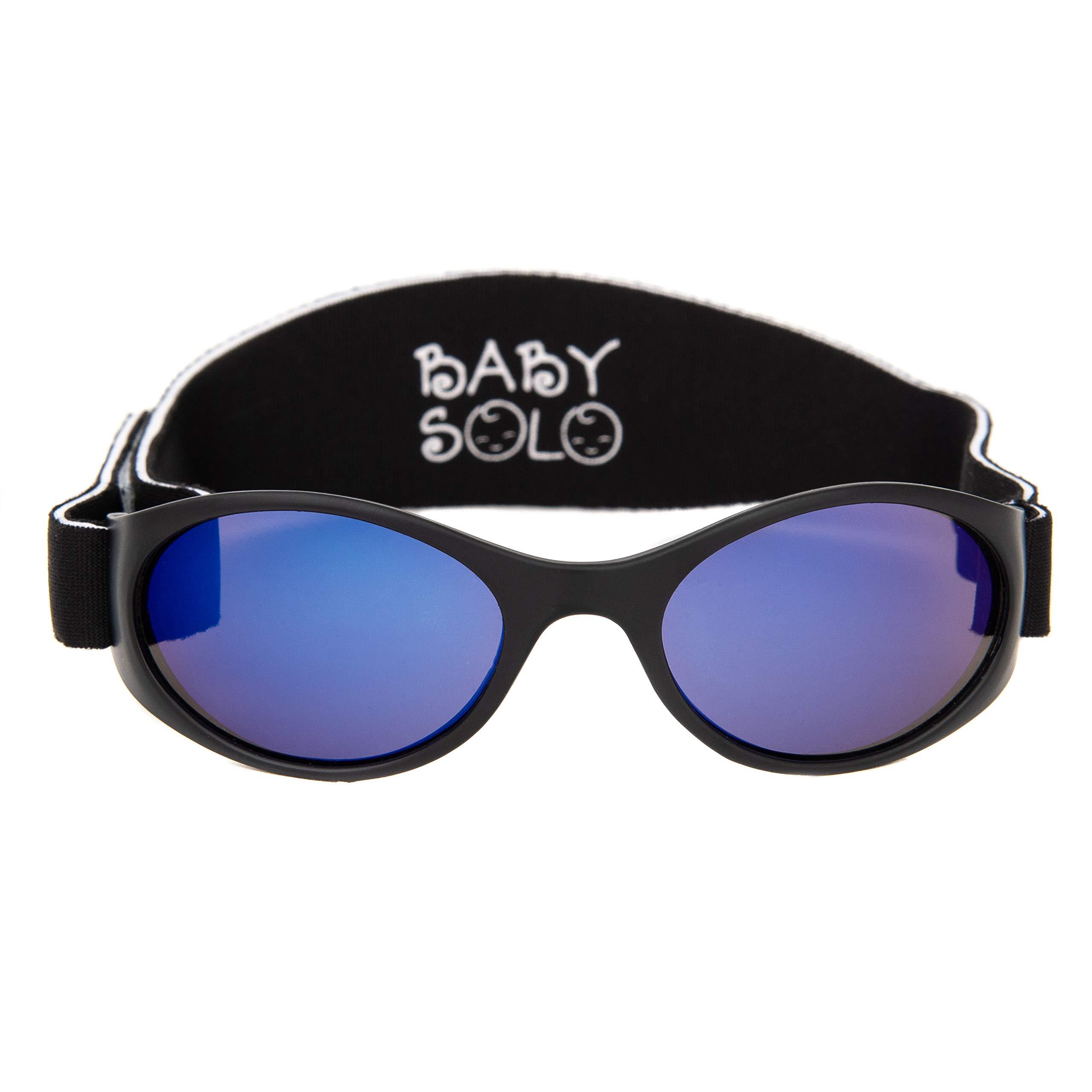 Baby Solo Original Baby Sunglasses Safe, Soft, Adorable Durable Case Included (0-36 Months, Matte Black Frame w/Blue Mirror Lens)