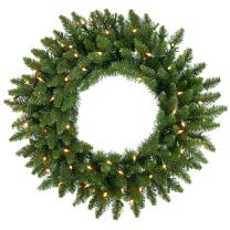 Vickerman Multi-colored LED Lights Frosted Bellevue Alpine Artificial Christmas Wreath, 24-Inch