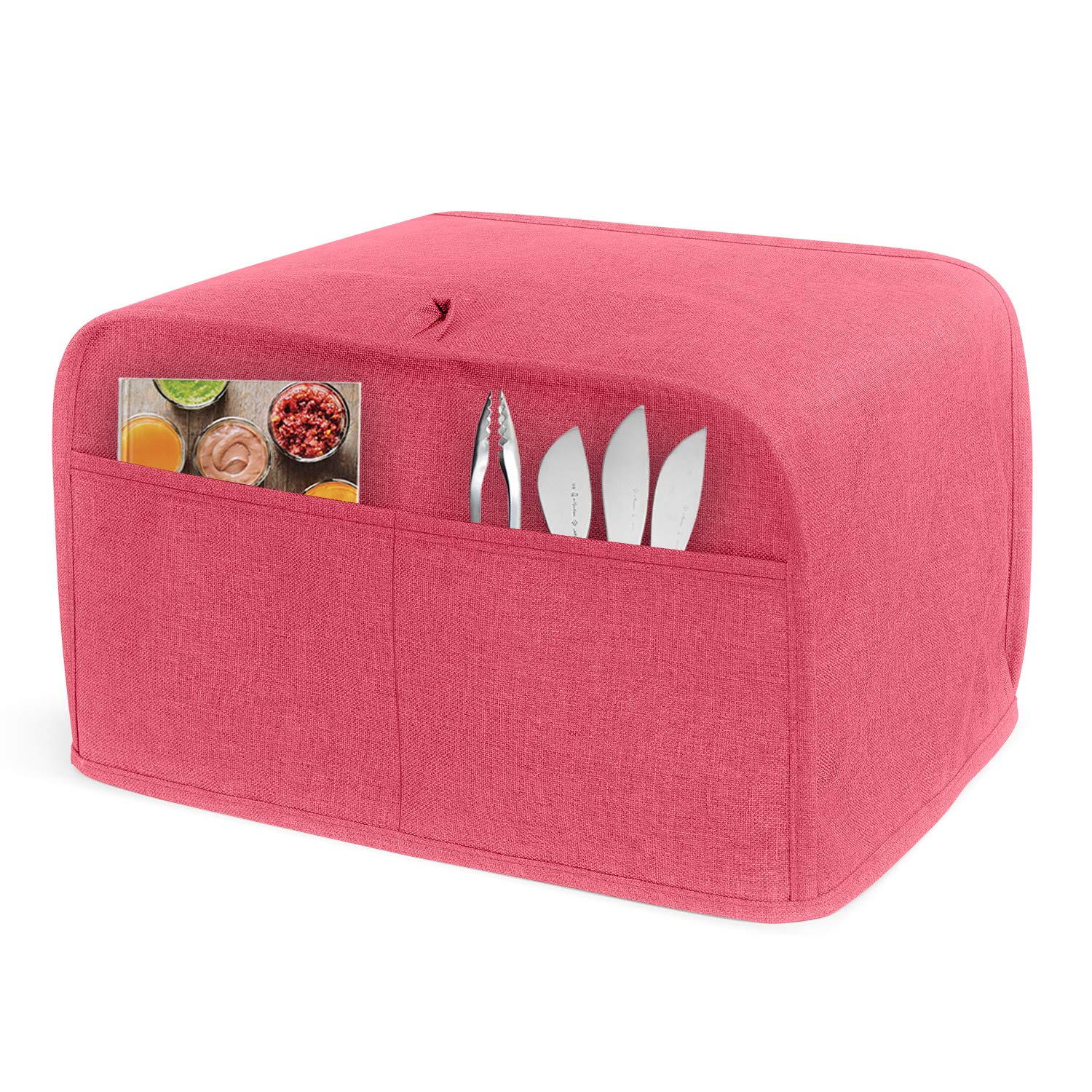 LUXJA 4 Slice Toaster Cover (12.5 x 10 x 8 inches), Toaster Cover with 2 Pockets (Fits for Most Major 4 Slice Toasters), Red