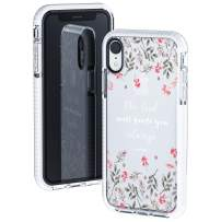 iPhone XR Clear Case,Spring Floral Flowers Leaves Bible Verses Inspirational Christian Quotes Isaiah 58:11 Trendy Cute Girls Women Soft Protective Clear Case With Design Compatible for iPhone XR