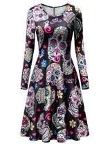 Dutebare Women Halloween Long Sleeve Dress Casual Printed Party Swing Midi Dresses