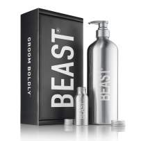 Beast Bottle Reusable Shower Bottle Set - Refillable with Shampoo Conditioner Body Wash Liquid Soap Shaving Cream - Kit with 1-Liter and 2-Ounce Travel Sizes by Tame the Beast