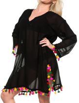 LA LEELA Women's Beach Blouse Tops Kimono Cardigan Bikini Cover Ups Solid Plain