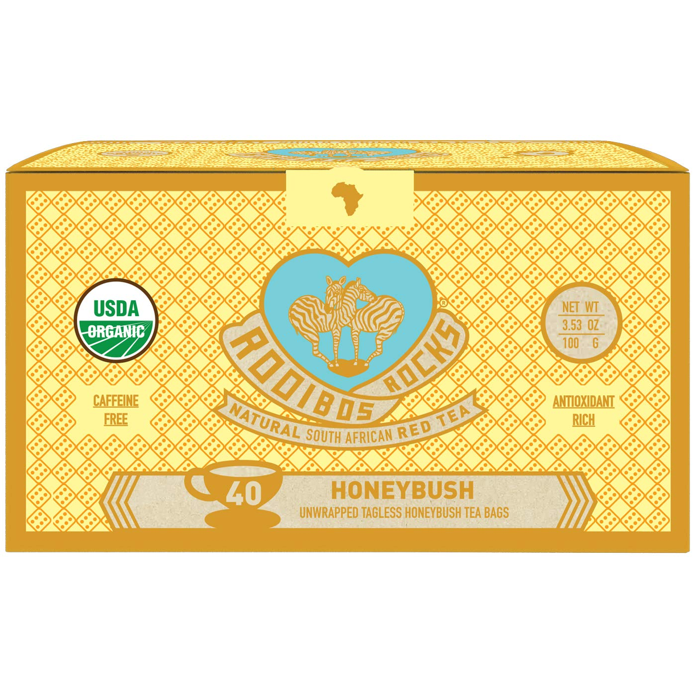 Honeybush Tea Immune Support Teabags - 40 Organic Non GMO Naturally Caffeine Free South African Mountain Honeybush Tagless Herbal Tea Bags, by Rooibos Rocks. Feel the Goodness and boost your immunity