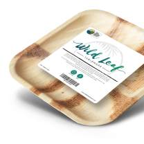 10 Inch Palm Leaf Plates - 25 Pack, Square - Sturdy and Eco-Friendly Alternative to Disposable Plastic and Paper Plates - by Wild Leaf Tableware