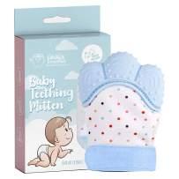Linda's Essentials Baby Teething Mitten - Self-Soothing Pain Relief Teething Mitten & Glove for Teething Babies, Toddlers, Infants, Unisex | Natural Organic BPA Free Teething Mitt | 3+ Months (Blue)