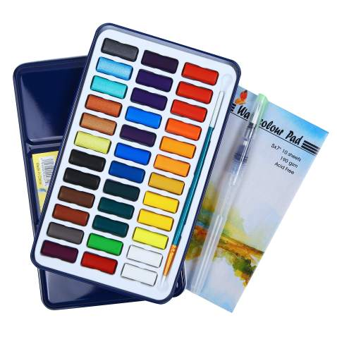 Falling in Art Watercolor Paint Set, 36 Water Cakes Pan with Water Brush and Paper Pad