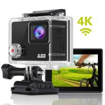 AEE Shadow Action Camera 4K 1080P HD 16MP with Touch Screen, 140° Wide Angle Lens with 4X Digital Zoom, 40m Portable Underwater Waterproof Sports Camera, Mounting Accessories Kit