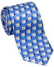 Josh Bach Men's Chinese Take-Out Silk Necktie Blue, Made in USA