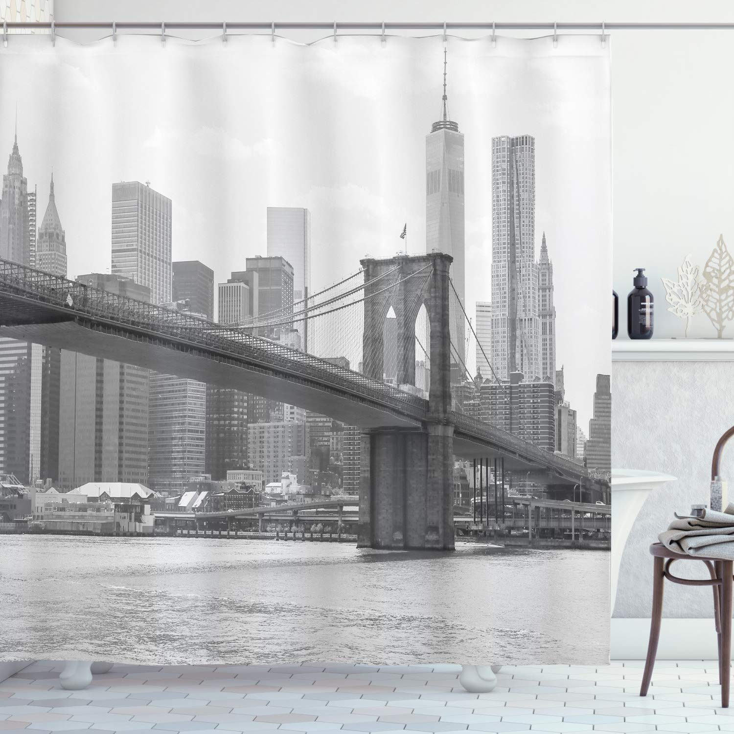 """Ambesonne Landscape Shower Curtain, Photo of Brooklyn Bridge Over East River and Tall Buildings Skylines at The Back, Cloth Fabric Bathroom Decor Set with Hooks, 84"""" Long Extra, Gray White"""