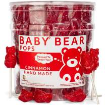 Cinnamon Bear Pops Lollipop Suckers: Individually Wrapped Baby Bear Candy on a Stick by Espeez - Cinnamon Bears (24 Count)