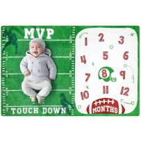 Baby Monthly Milestone Blanket Football Sports Blankets for Toddler Photography Background Prop Soft Plush Fleece