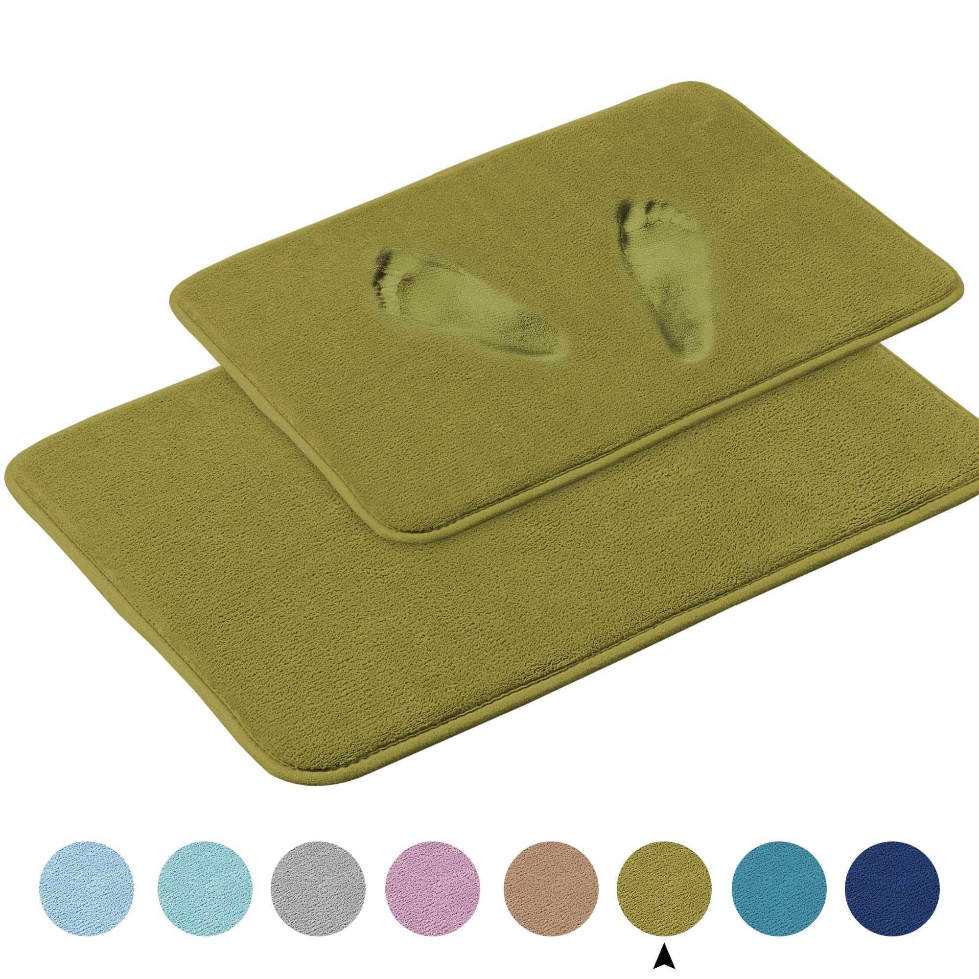"Soft Memory Foam Non Slip Super-Absorbent Bath Mat Toilet Floor Rug Flannel Fleece Microfiber Velvety Plush Shower Rugs for Bathroom, Machine-Washable(2 Packs-20"" x 32""/ 17"" x 24"", Olive"